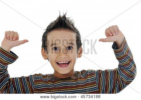 Portrait of a cute little boy smiling on white background