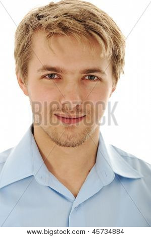 Portrait of an handsome blond man wearing a shirt looking at camera