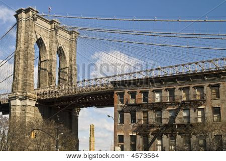 Brooklyn Bridge And Brownstone