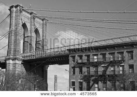 Puente de Brooklyn y Brownstone B&w