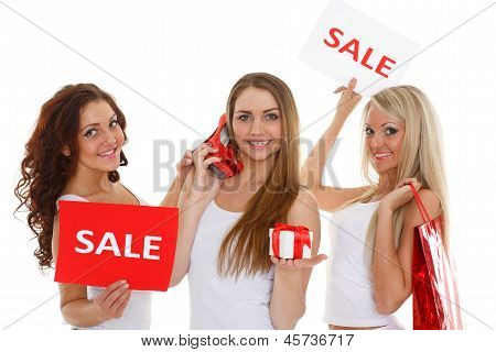 Young  Women With Sale Sign.