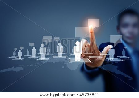 Image of male touching icon of social network