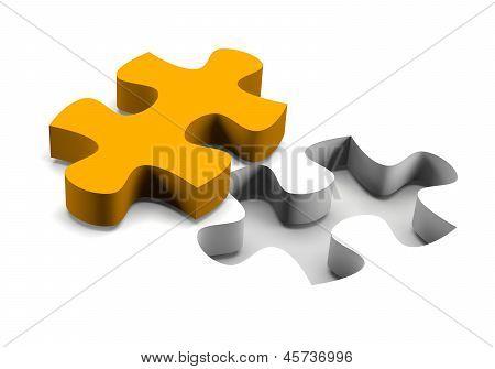 Orange Puzzle-Stück-Lösungskonzept