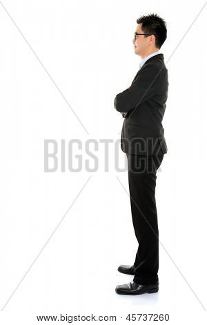 Young Asian business man full body side view isolated on white background