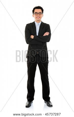 Young Asian business man full body isolated on white background
