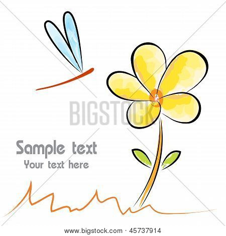 Vector image of an flower and dragonfly