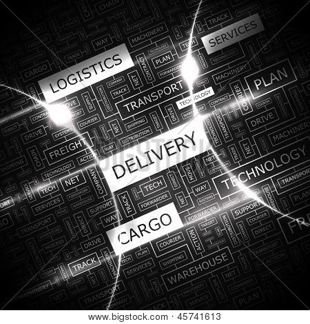DELIVERY. Word cloud concept illustration.