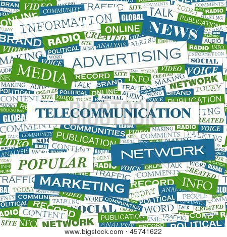 TELECOMMUNICATION. Word cloud concept illustration.