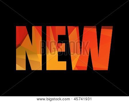 Colorful red and yellow polygon NEW title on black background, vector