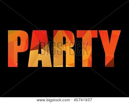 Colorful red and yellow polygon PARTY title on black background, vector