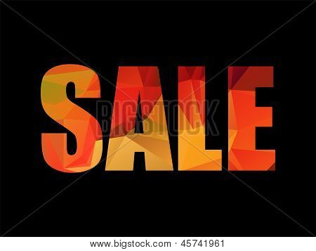 Colorful red and yellow polygon SALE title on black background, vector