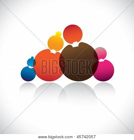 Family Of Father,mother,son & Daughter- Abstract Vector Graphic