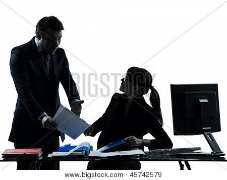 one caucasian business woman man couple dispute conflict  in silhouette studio isolated on white background