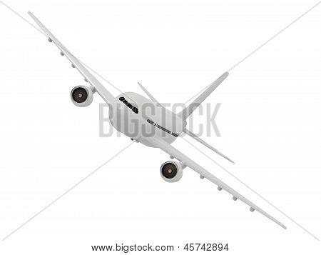 White Passenger Airliner Makes A Turn