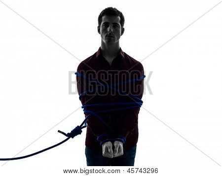 one man trapped catched lasso prisoner  in shadow  white background