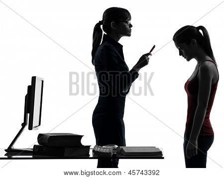 one caucasian teacher woman mother teenager girl reproach discussion  in silhouette studio isolated on white background
