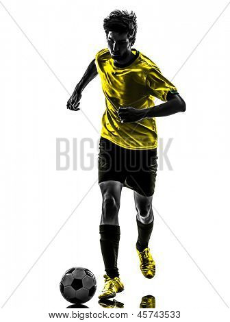 one brazilian soccer football player young man in silhouette studio isolated on white background