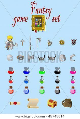 Fantasy game set vector