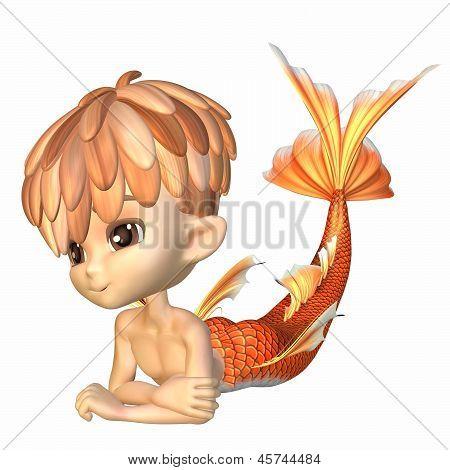 Cute Toon Goldfish Merman
