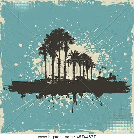 Vintage grunge background with silhouettes of palm trees