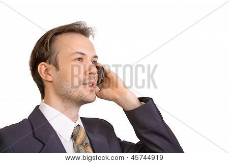Smiling Businessman Talks On Phone