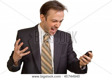 Angry Businessman Screams At Phone