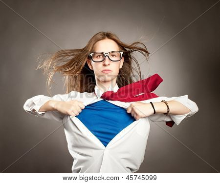 woman opening her shirt like a superhero