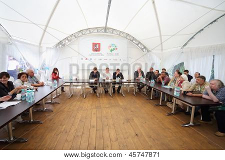 MOSCOW - AUG 18: Press conference of Department of Natural Resources and Environmental Protection of Moscow at festival Ekofest 2012 on banks of Stroginsky gulf, on August 18, 2012 in Moscow, Russia.