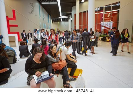 MOSCOW - AUG 20: Participants of Global Youth to Business forum in foyer of congress-hall of Moscow School of Management Skolkovo, August 20, 2012, Moscow, Russia.