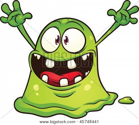 Cartoon green blob monster. Vector clip art illustration with simple gradients. All in a single layer.