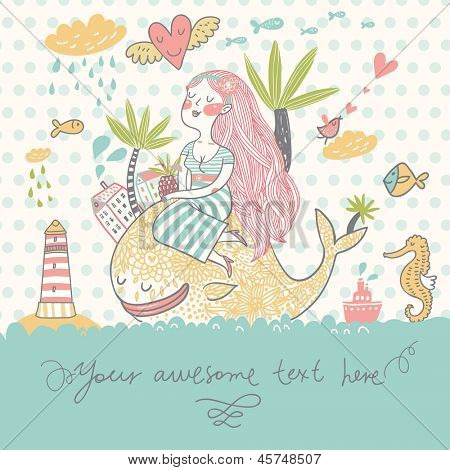 Tropical travel concept card. Summer cartoon background with girl with cocktail under palm on the whale in the sea with lighthouse, sea horse and fish in vector