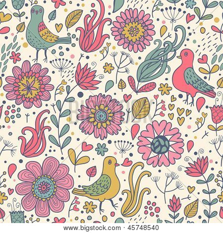 Pigeons in flowers. Seamless pattern can be used for wallpapers, pattern fills, web page backgrounds,surface textures. Gorgeous seamless floral background