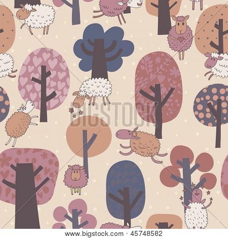 Funny cute sheep in forest. Animals and trees in vintage colors. Seamless pattern can be used for wallpapers, pattern fills, web page backgrounds,surface textures.