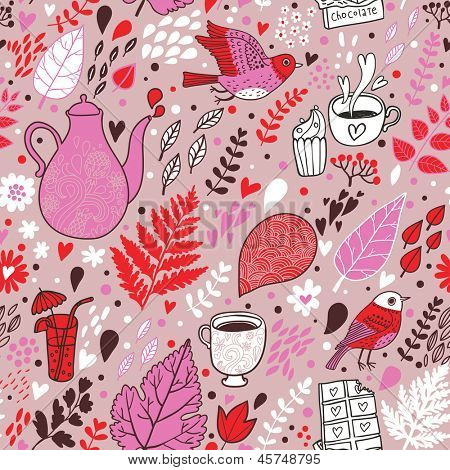 Tasty seamless pattern with birds and flowers. Tea, coffee, chocolate and cupcakes. Seamless pattern can be used for wallpapers, pattern fills, web page backgrounds,surface textures.