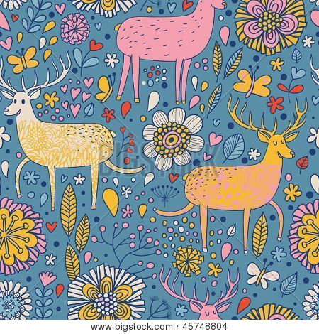 Bright deers in cartoon flowers for childish backgrounds. Seamless pattern can be used for wallpapers, pattern fills, web page backgrounds,surface textures.