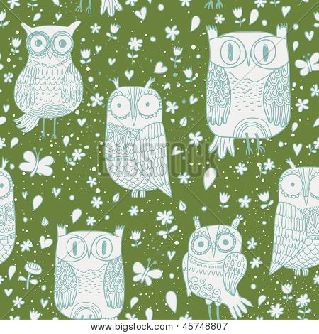 Funny owls in vector. Seamless pattern can be used for wallpapers, pattern fills, web page backgrounds,surface textures.