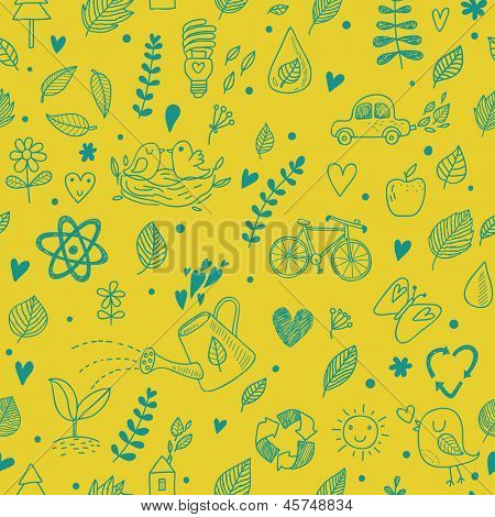 Ecology concept seamless pattern. Seamless pattern can be used for wallpapers, pattern fills, web page backgrounds,surface textures.