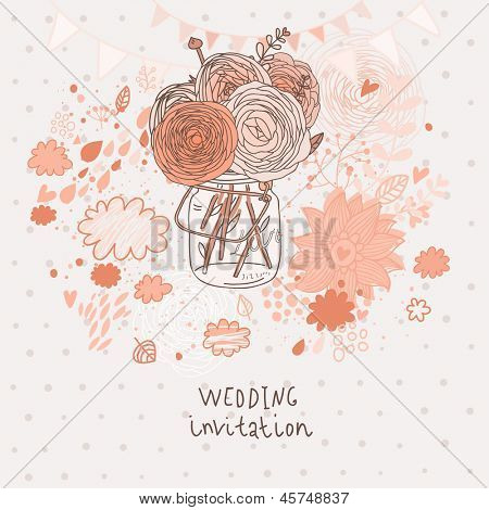 Flowers in jar. Stylish bouquet in vase � wedding invitation card in vector. Abstract floral background in pink colors
