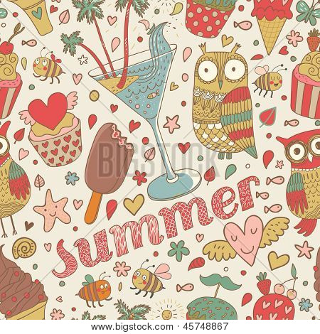 Summer concept seamless pattern with ice cream, owl, cocktail and cupcakes in cartoon style. Seamless pattern can be used for wallpapers, pattern fills, web page backgrounds,surface textures