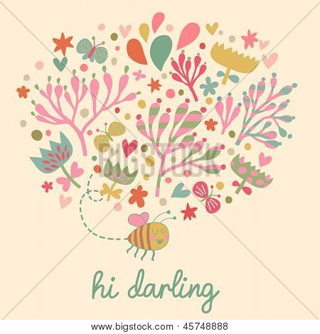 Bright romantic floral card with cute cartoon bee in vector. Summer background in pastel colors made of flowers and butterflies