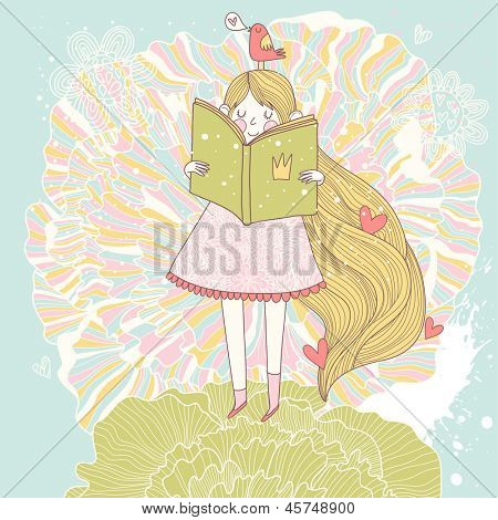 Book reading princess in pastel colors. Vector card with cute girl reading fairy book. Cartoon summer card