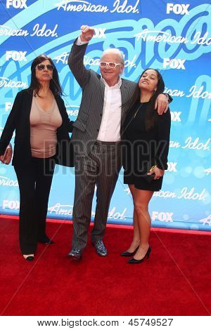 LOS ANGELES - MAY 16:  Stella Arroyave, Anthony Hopkins and Niece arrive at the American Idol Seaon 12 Finale at the Nokia Theater at LA Live on May 16, 2013 in Los Angeles, CA
