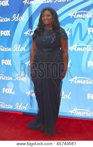 LOS ANGELES - MAY 16:  Candice Glover arrives at the American Idol Season 12 Finale at the Nokia Theater at LA Live on May 16, 2013 in Los Angeles, CA