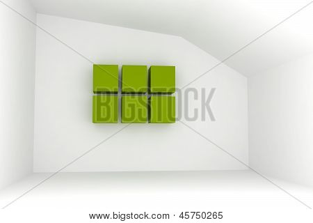 Empty Room With Green Box