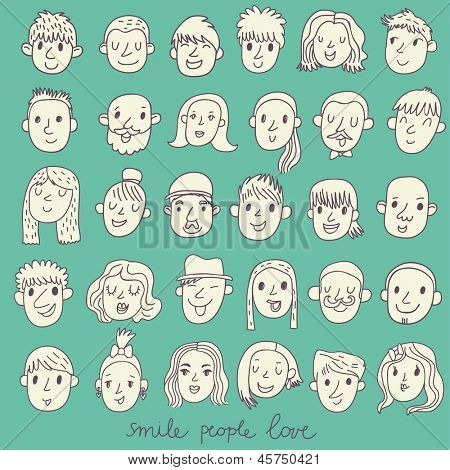 Cartoon vector set �¢�?�? 36 different funny faces. Girls, boys, men, women in white colors
