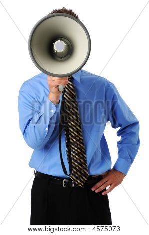 Man Using Megaphone