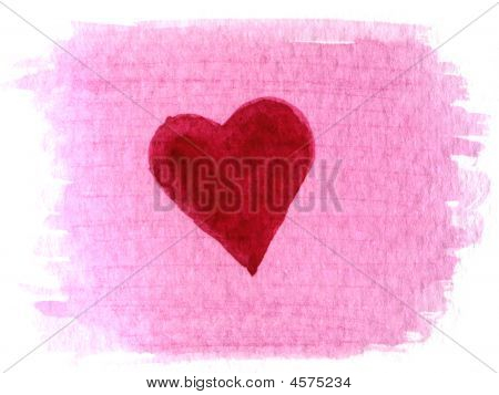 Heart Painted Over Watercolor Blotch