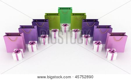 3d illustration of boxes with gifts and paper bags on a white background