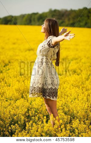 Woman Spread Out His Hands In Delight
