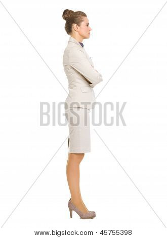 Full Length Portrait Of Business Woman Looking On Copy Space